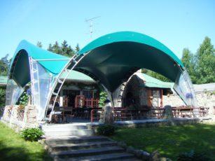 Зеленый арочный шатер 10х10м